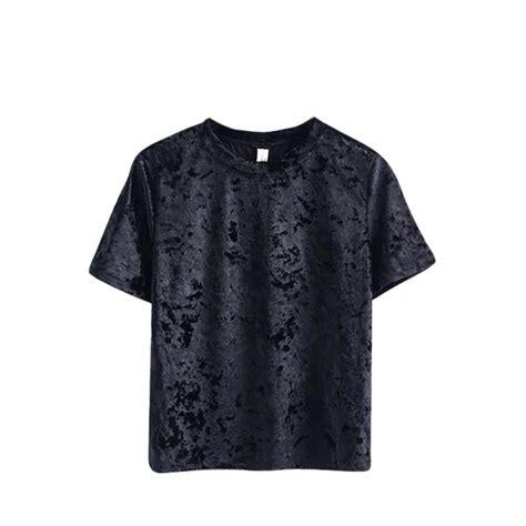 Basic Crop Blouse summer sleeve velvet basic t shirt crew