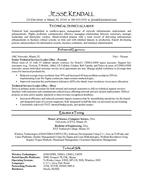 Leader Resume Exle Technical Services Leader Resume Sle