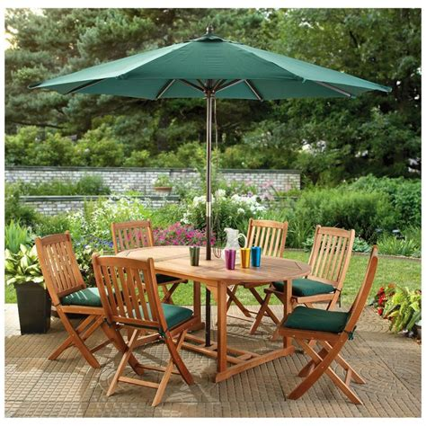 Furniture Outdoor Table Bench Set With Cushions Patio Furniture Umbrella