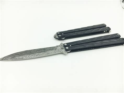 stainless steel butterfly knife 440c stainless steel knife damascus coating dull