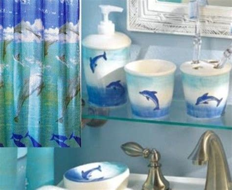 Dolphin Bathroom Decor by Bathroom Set Of 5 Accessories Dolphin Decoration Amazoncouk Dolphin Bathroom Accessories Set Tsc