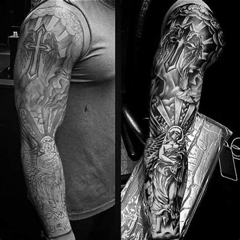 religious half sleeve tattoo designs for men 75 religious sleeve tattoos for spirit