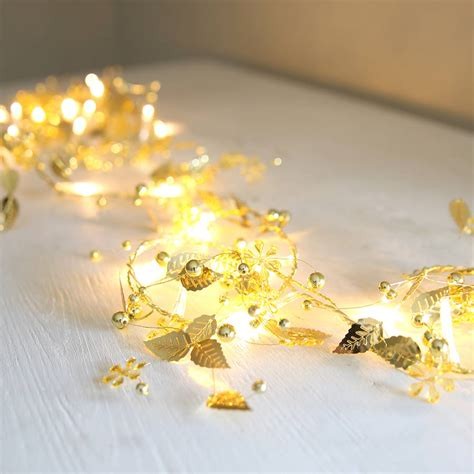 Gold Leaves Light Garland By Red Lilly Gold Garland With Lights