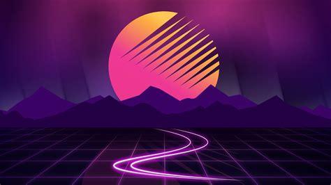 cyberwave purple outrun full hd  wallpaper