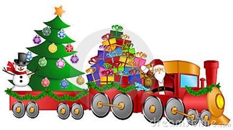 santa reindeer snowman train gifts christmas tree royalty  stock photo image