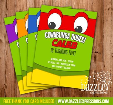 printable birthday cards ninja turtles teenage mutant ninja turtle inspired birthday invitation