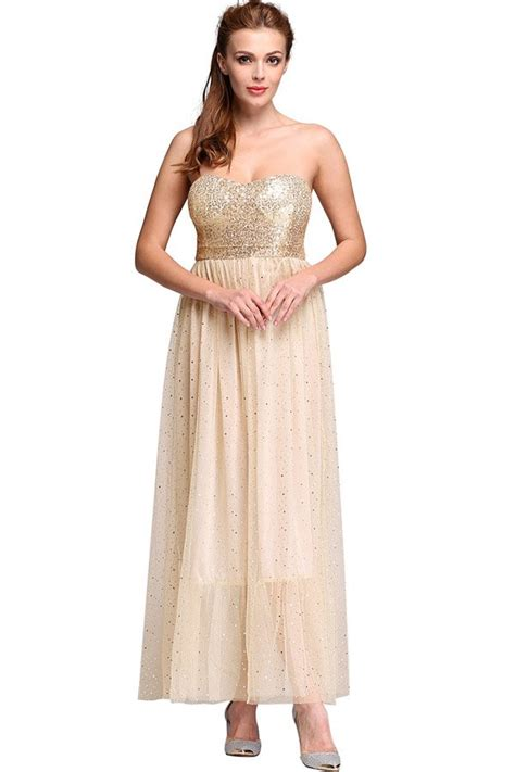 beige sequins mesh strapless maxi party dress  party