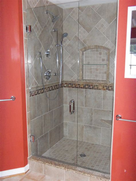 bathroom shower stall tile designs chic red bifold bathroom door with stainless steel pull
