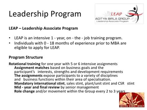 Mba Rotational Leadership Program by Talent Managemet At Aditya Birla