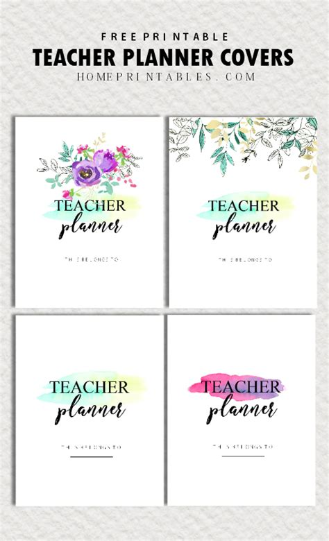 printable planner cover free teacher planner printables 35 organizing sheets