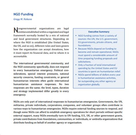 proposal format sle for ngo 10 free funding proposal templates free pdf word doc