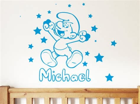 Toddler Wall Stickers wall decor smurf custom kids baby toddler wall stickers