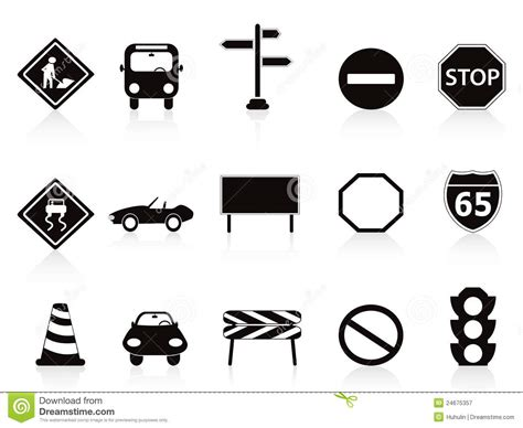 black traffic sign icons set stock vector image 24675357