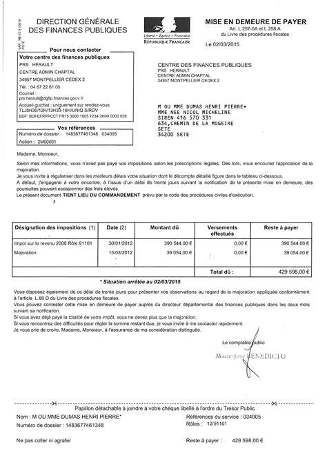 Modèle Lettre De Mise En Demeure De Payer Une Facture Modele Mise En Demeure 2015 Document