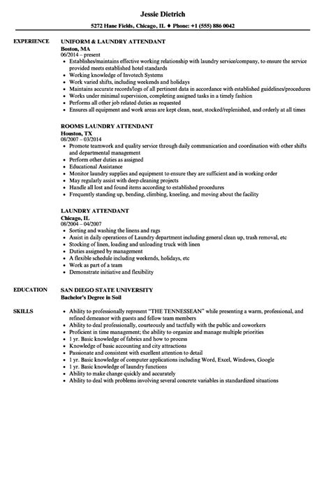 Laundry Attendant Cover Letter by Laundry Attendant Sle Resume Od Consultant Cover Letter