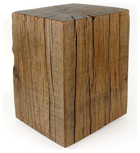 cube accent table reclaimed oak cube table rustic side tables and end