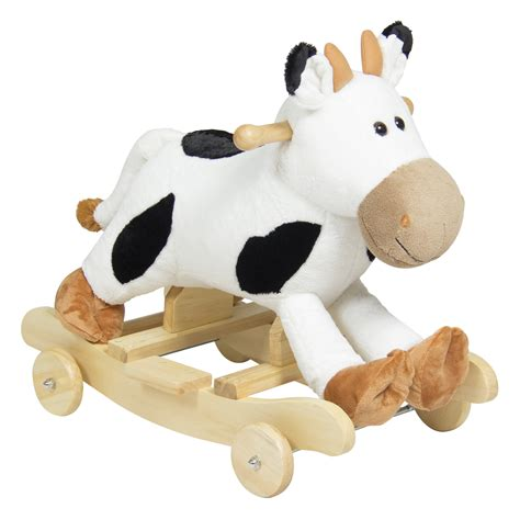kids ride on plush cow animal rocker wheels children toy