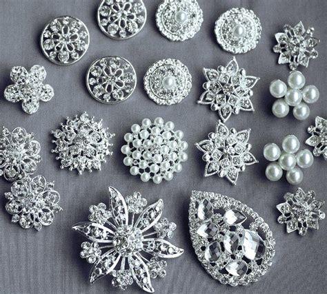 brooch jewelry supplies 20 assorted rhinestone button brooch embellishment pearl