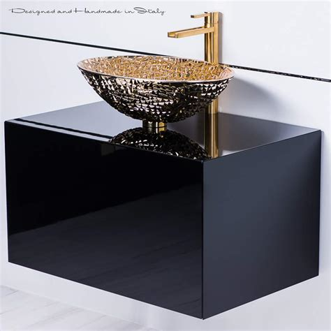 lacquer bathroom vanity black lacquer bathroom vanity with gold crystal vessel sink