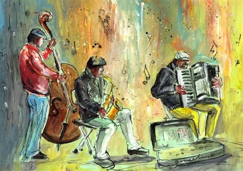 Gallery of street musicians paintings around the world by Miki