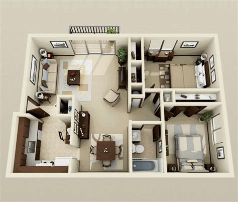 one bedroom design ideas 50 two quot 2 quot bedroom apartment house plans architecture