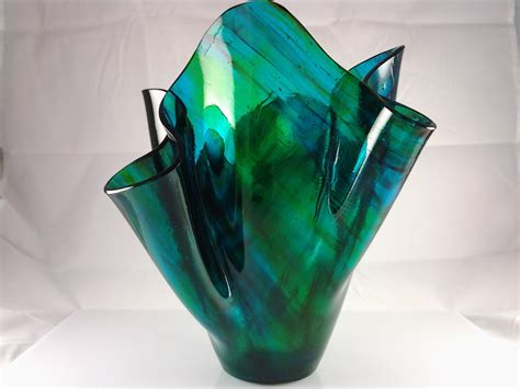 Fused Glass Vases by Fused Glass Vase Blue Green Glass Vase Turquoise Glass