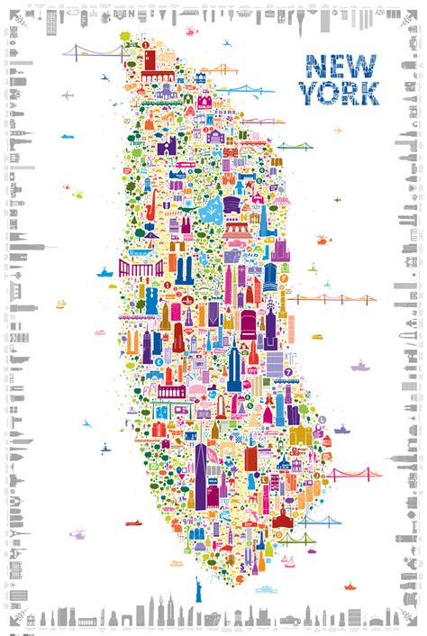 map of nyc with landmarks alfalfa s whimsical map colorfully details 400 new york