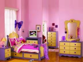yellow purple bedroom:  yellow and purple furniture set paired with pink girl bedroom paint