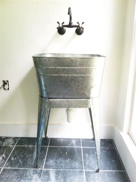 galvanized laundry sink with stand pin by meredith b on for the home