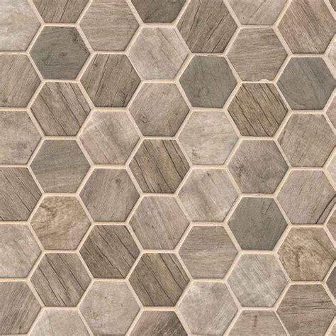 driftwood 2 quot hexagon 6mm glass mosaic tile