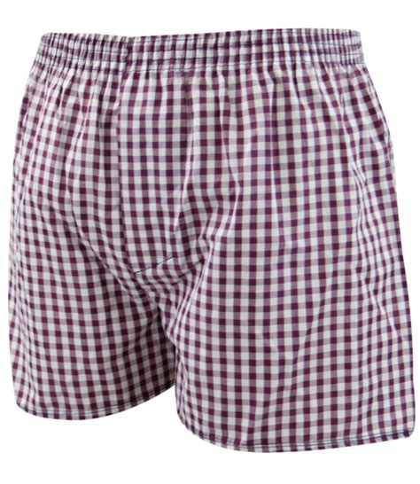 6 pack mens woven check print poly cotton boxer shorts