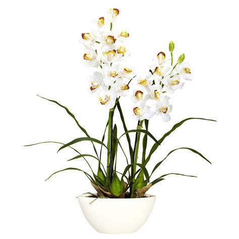 mini red cymbidium silk orchids in asian planter o140 silk cymbidium orchids with white vase 4803