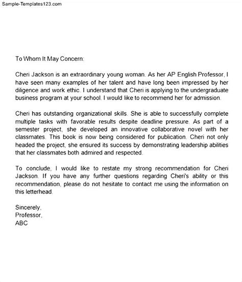 Recommendation Letter For Elementary Letter Of Recommendation For Middle School Student Sle Templates