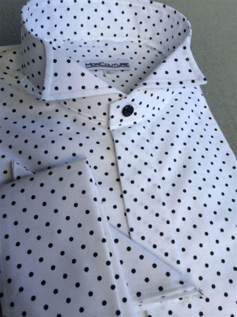 Small Polka Mix Shirt morcouture black small polka dot wing collar shirt