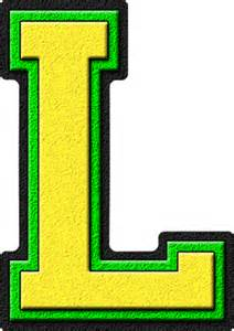 Green L by Presentation Alphabets Yellow Green Varsity Letter L