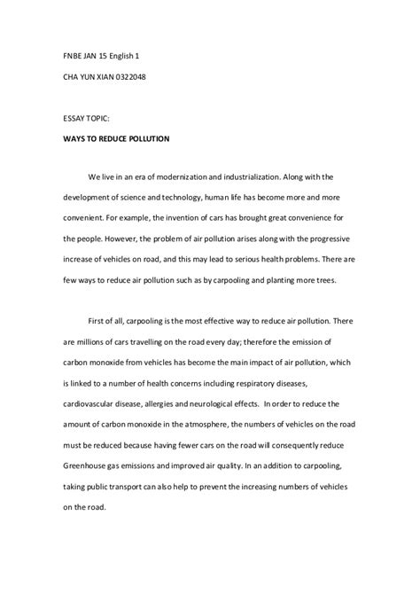 ELG 30505 Essay 1 - Ways To Reduce Pollution
