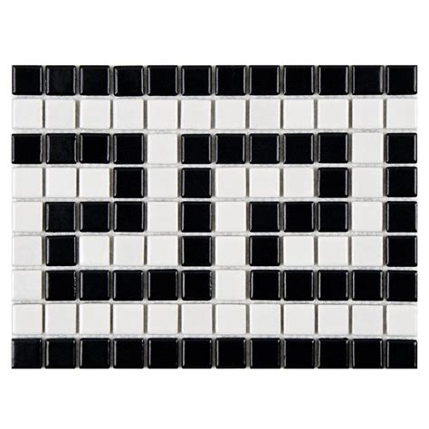 black and white border tiles for bathroom merola tile metro greek key matte white and black border 8