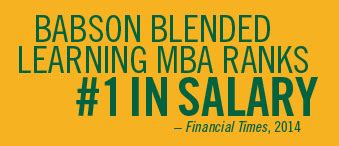 Blended Learning Mba Babson by Blended Learning Mba Program Ranked 1 For Salary Babson
