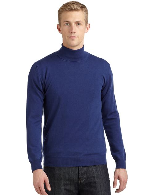 light blue turtleneck mens calvin klein merino wool turtleneck sweater in blue for