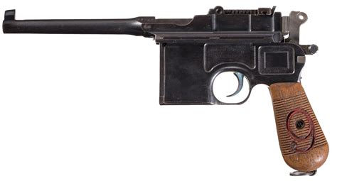 the broomhandle mauser weapon 1472816153 mauser 1896 quot red nine quot military broomhandle pistol pistol firearms auction lot 733