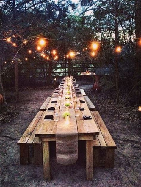 Outdoor farm table and lights.   outside   Pinterest