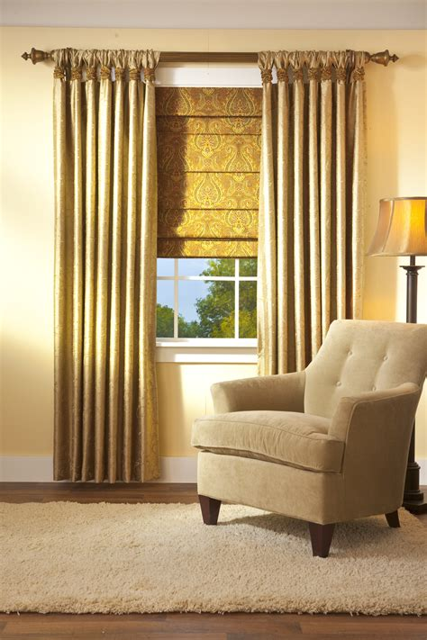 window treatments with blinds and curtains home decor thumbprinted