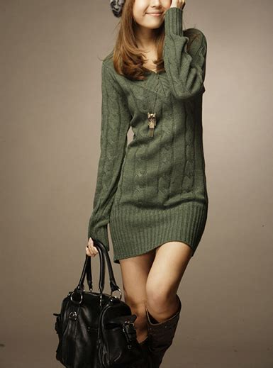 Sleeved Sweater Dress s sleeved sweater dress army green