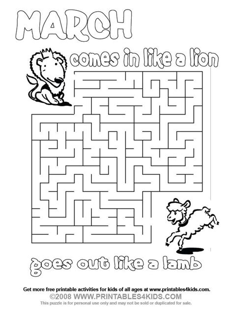 preschool coloring pages for march march lion and lamb maze printables for kids free word