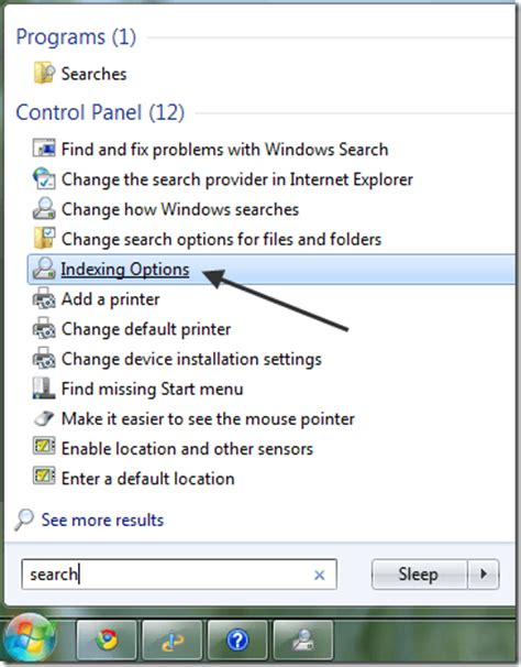 where is the search box in windows 7 windows 7 file search indexing options