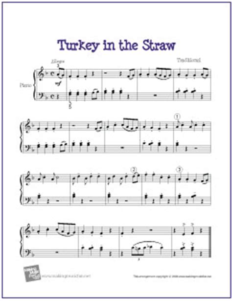 turkey in the straw | free easy piano sheet music