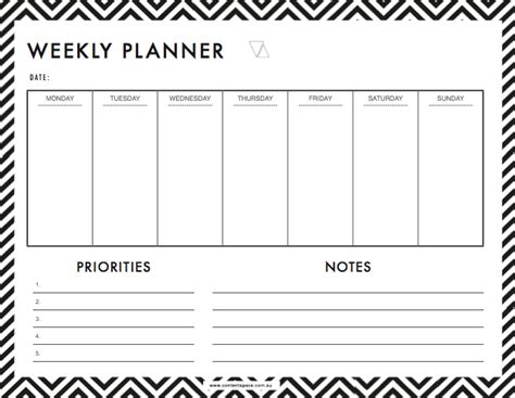 week by week planner template 6 weekly planner templates word excel templates