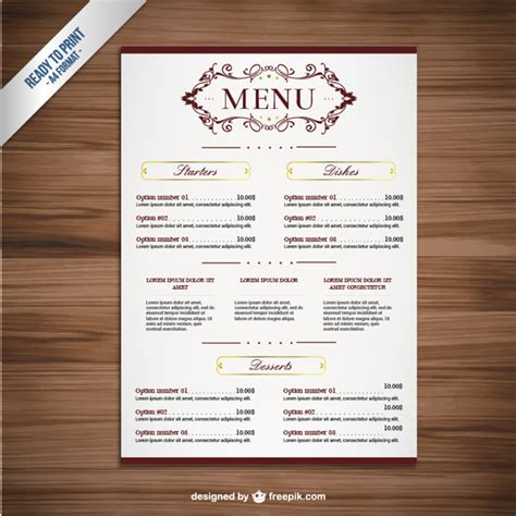 downloadable menu templates ornamental menu template vector free