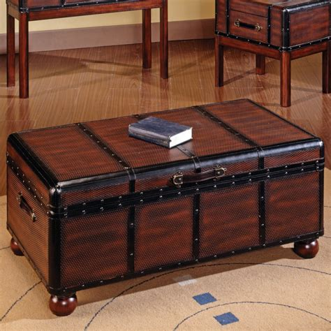 Trunk Style Coffee Table Nell Wooden Wood Chest Coffee Table Plans