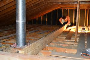 Supporting Ceiling Joists by Crouching Homeowner Beam
